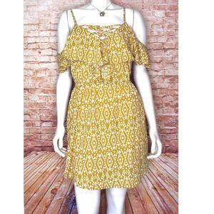 Indulge Cold Shoulder Patterned Ruffle Mini Dress